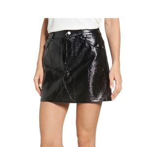 Chloe & Katie Faux Patent Leather Miniskirt